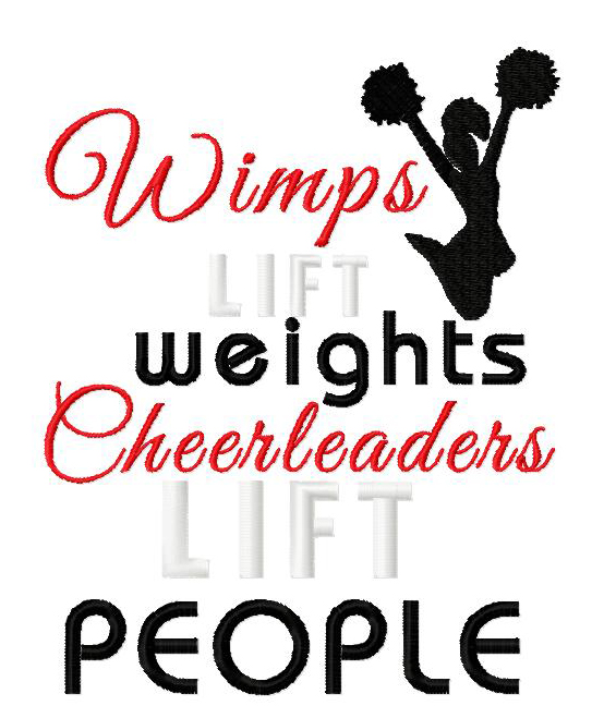 Cheerleaders Lift People Embroidery Design