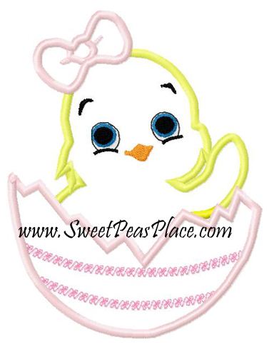 Chick with Egg 2 Applique Embroidery Design