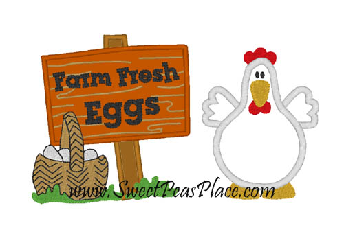 Chicken with Farm Fresh Eggs Applique Embroidery Design