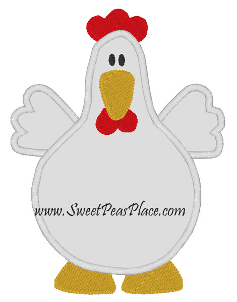 Chicken Applique Embroidery Design