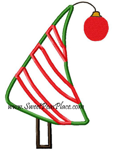 Bendy Christmas Tree Applique Embroidery Design