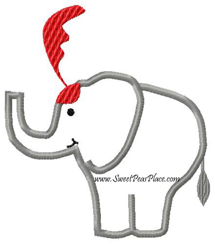 Circus Elephant Applique Embroidery Design