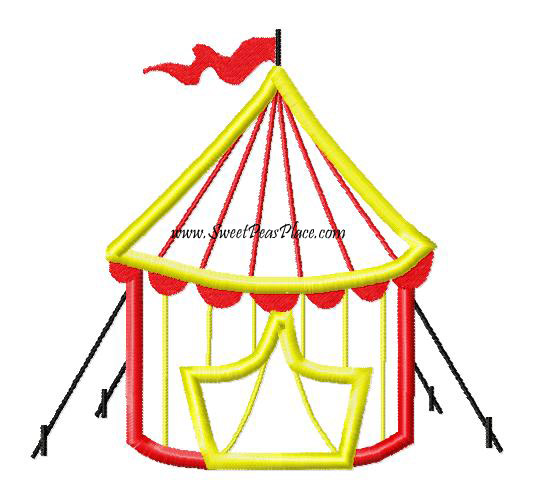 Circus Tent Applique Embroidery Design