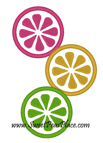 Citrus Cooler Three Slice Applique Embroidery Design