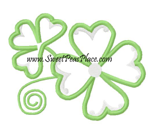 Clovers Applique Embroidery Design