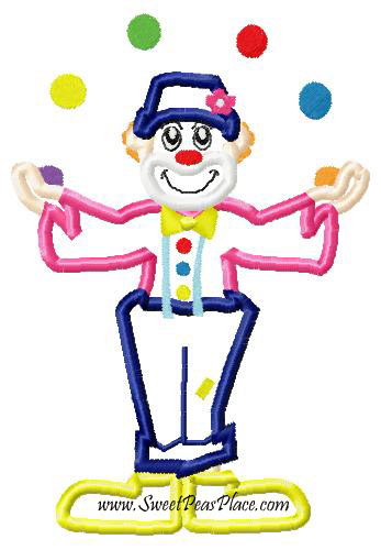 Clown Applique Embroidery Design