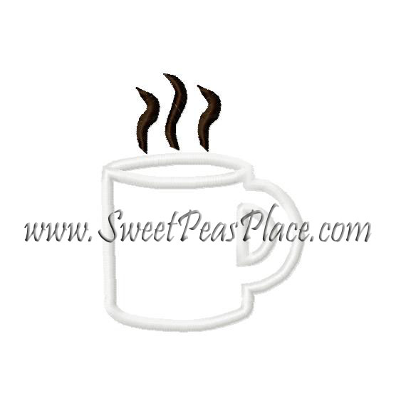 Coffee Cup Applique Embroidery Design