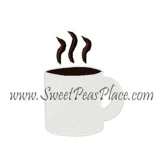 Coffee Cup Filled Embroidery Design