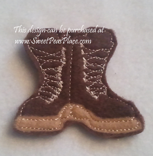 Combat boot for felt Applique Embroidery Design