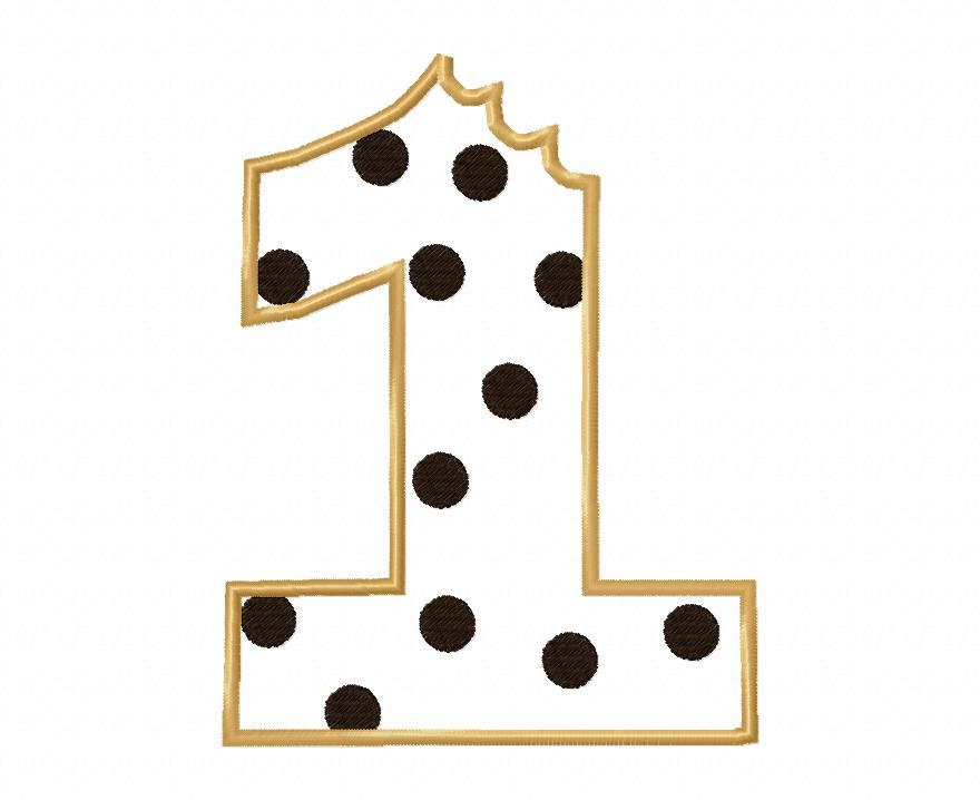 Cookie Number Set Applique Embroidery Design 1-6