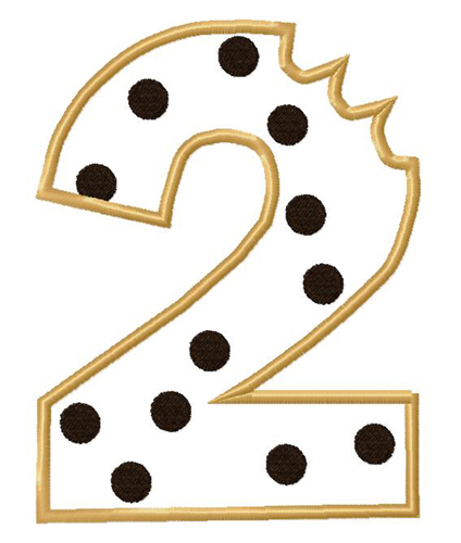 Cookie Number Two Applique Embroidery Design