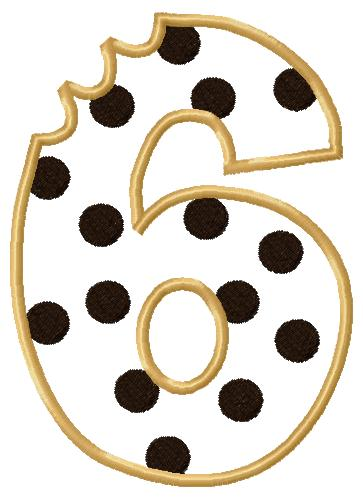 Cookie Number Six Applique Embroidery Design