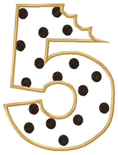 Cookie Number Five Applique Embroidery Design