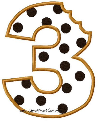 Cookie Number Three Applique Embroidery Design