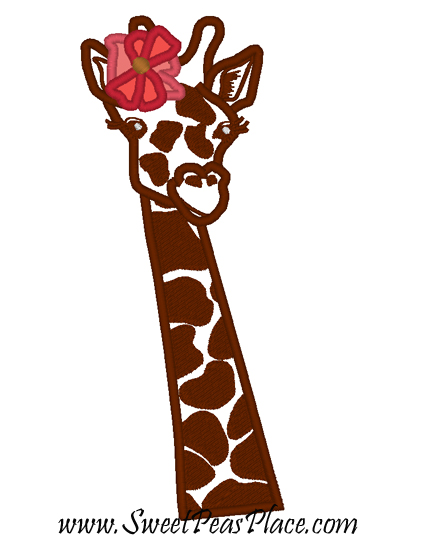 Coral Giraffe Applique Embroidery Design