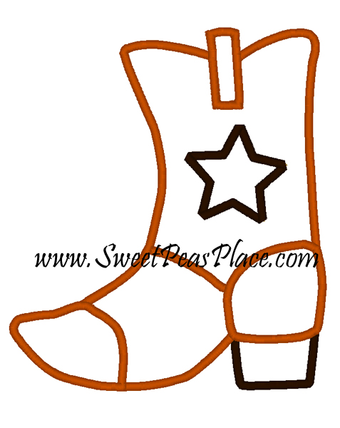 Cowboy Boot Embroidery Applique Design