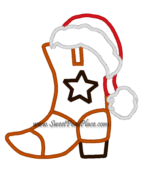 Cowboy with Santa Hat Embroidery Applique Design