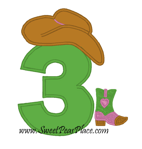 Cowgirl Number 3 Applique Embroidery Design
