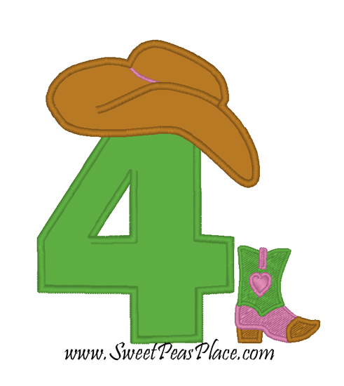 Cowgirl Number 4 Applique Embroidery Design