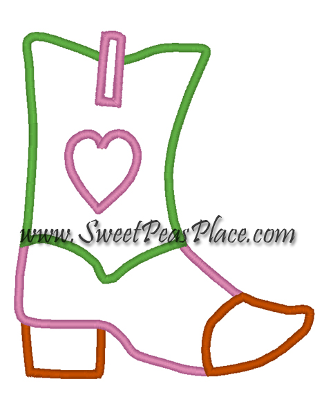 Cowgirl Boot Embroidery Applique Design