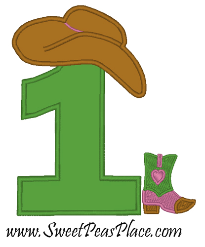 78c79cff5507d Cowgirl Birthday Number One Applique Embroidery Design