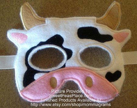 Cow Mask in the Hoop Applique Embroidery Design