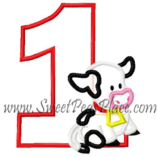 Barnyard Cow with One Applique Embroidery Design