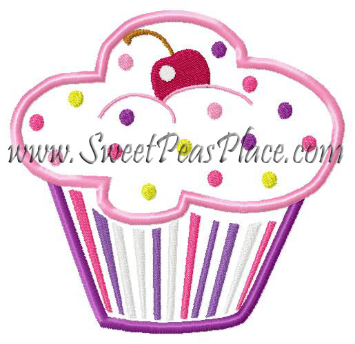 Birthday Cupcake Applique Embroidery Design