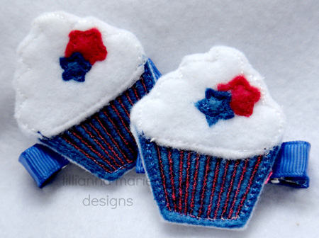 Fourth of July Cupcake for Felt Applique Embroidery Design