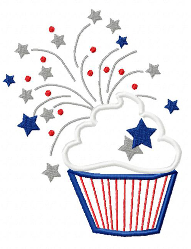 Fourth of July Fireworks cupcake  Applique Embroidery Design