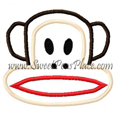 Monkey Applique 4 Embroidery Design