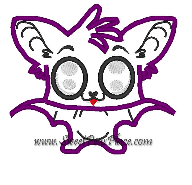 Cute Bat Applique Embroidery Design