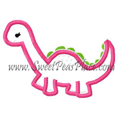 Dinosaur Cutiesaurus Applique Embroidery Design
