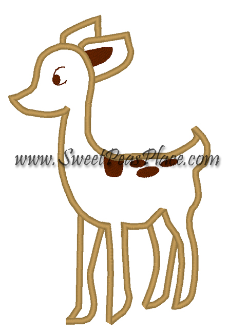 Deer Applique Embroidery Design