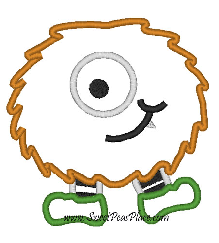 Diet Monster Applique Embroidery Design
