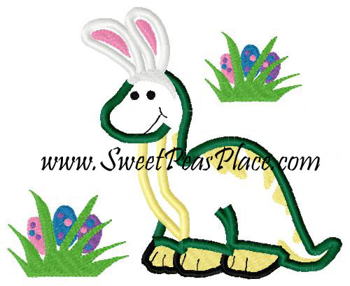 Dinosaur with Easter Eggs Applique Embroidery Design