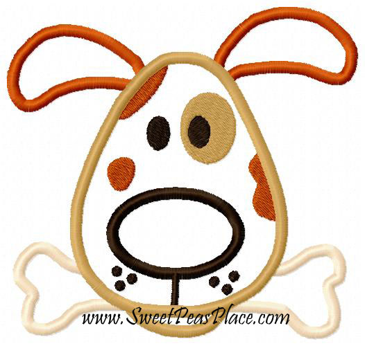 Dog With Bone Spot Applique Embroidery Design