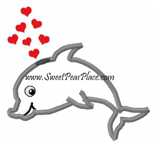 Dolphin with Hearts Applique Embroidery Design