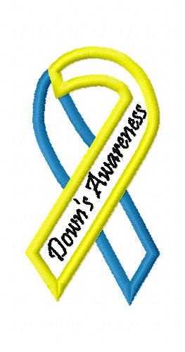 Downs Awareness Ribbon Applique Embroidery Design