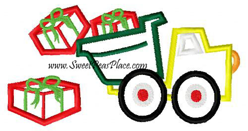 Dump Truck with Presents Applique Embroidery Design