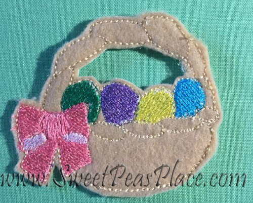 Easter Basket for felt Applique Embroidery Design