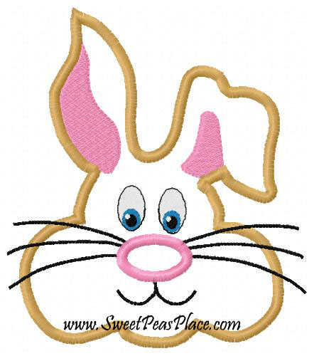 Easter Bunny Head Applique Embroidery Design