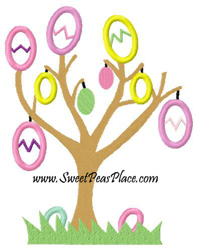Easter Tree with Eggs Applique Embroidery Design