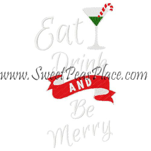 Eat Drink Be Merry Embroidery Design