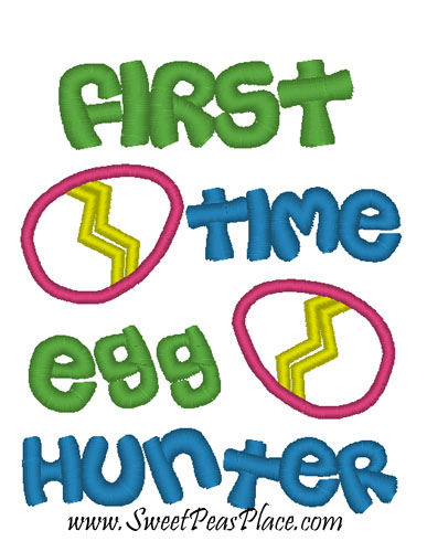 First Time Easter Egg Hunter Applique Embroidery Design