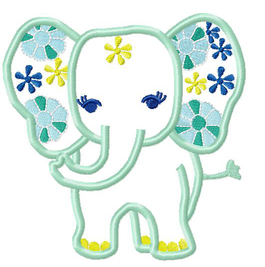 Elephant with Flowers Applique Embroidery Design