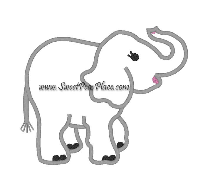 Elephant Applique Embroidery Design