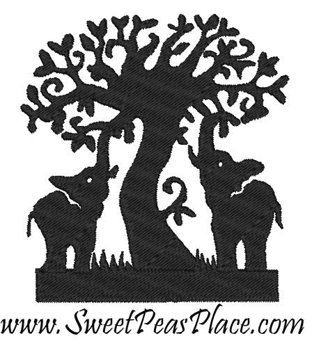 Elephant Sillouhette Filled embroidery design