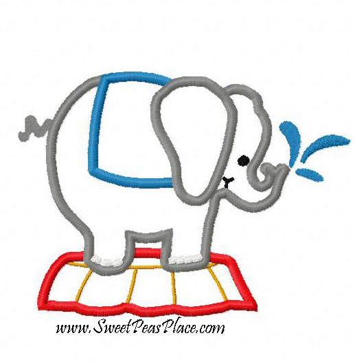 Elephant on Stand Applique Embroidery Design