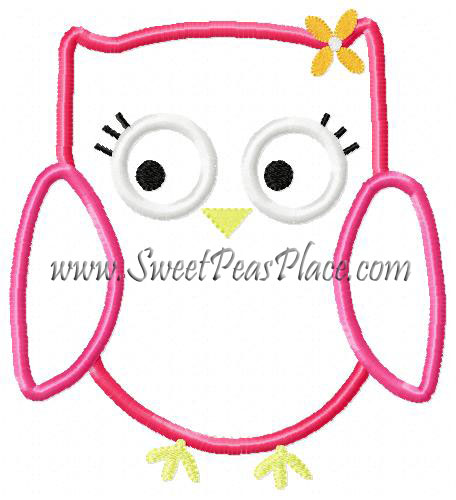 Fall Homecoming Owl with Flower Applique Embroidery Design